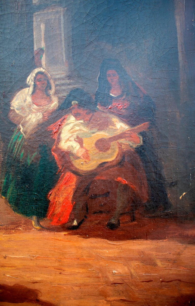 Spanish Andalusian Costumbrist Goyesque Scene Oil on Canvas For Sale 2