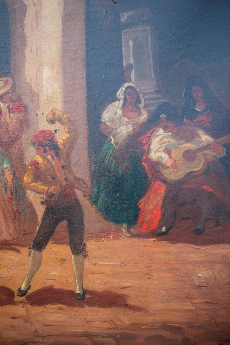 Spanish Andalusian Costumbrist Goyesque Scene Oil on Canvas For Sale 3