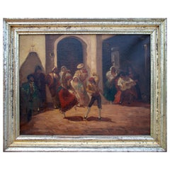 Spanish Andalusian Costumbrist Goyesque Scene Oil on Canvas