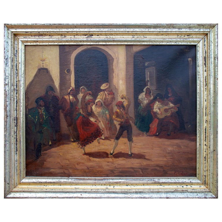 Spanish Andalusian Costumbrist Goyesque Scene Oil on Canvas For Sale