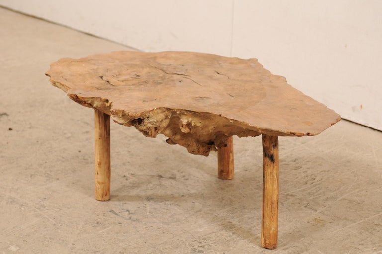 Spanish Antique Live-Edge Burl Wood Coffee Table In Good Condition For Sale In Atlanta, GA