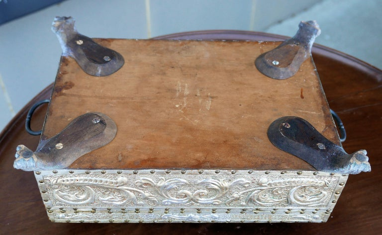Spanish Art Deco Silver Gilt Tooled Leather Box For Sale 1