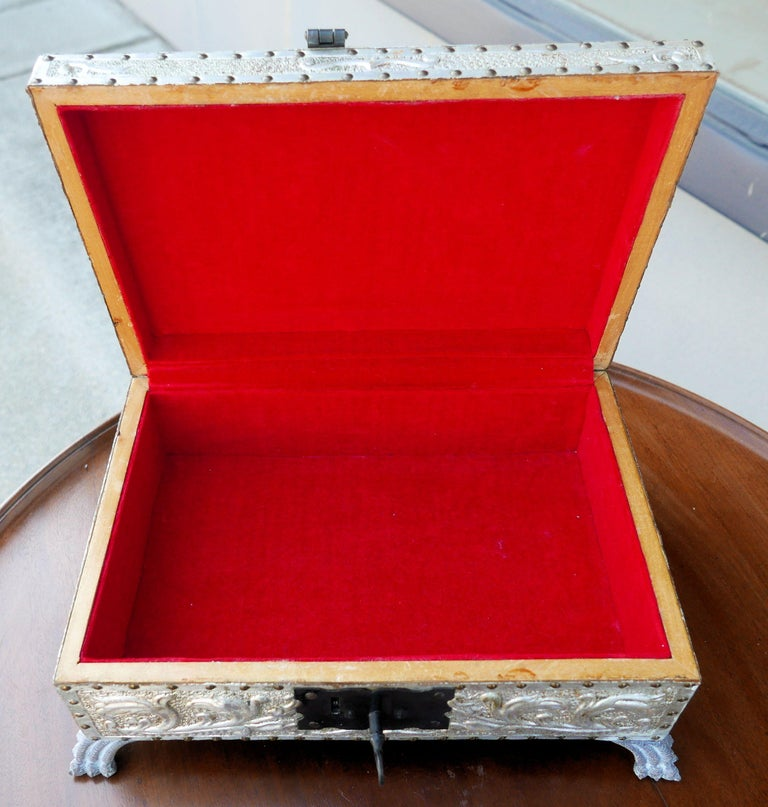 Spanish Art Deco Silver Gilt Tooled Leather Box For Sale 3