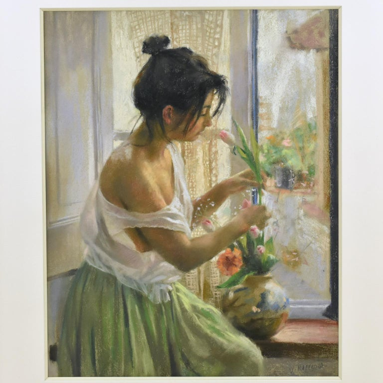 Romantic Spanish Artist Vicente Romero Redondo Pastel Painting Young Girl with Flowers For Sale