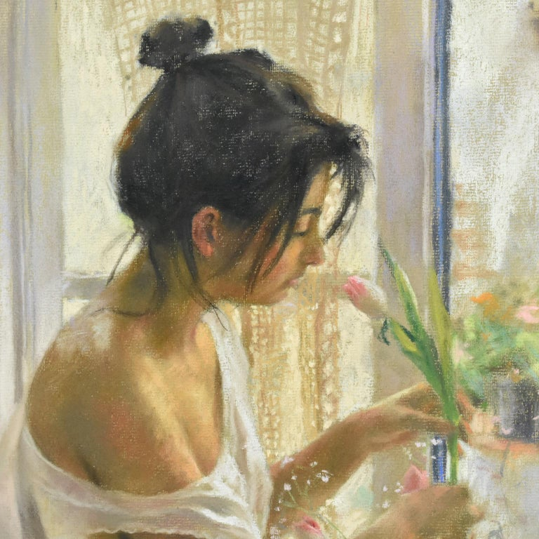 20th Century Spanish Artist Vicente Romero Redondo Pastel Painting Young Girl with Flowers For Sale