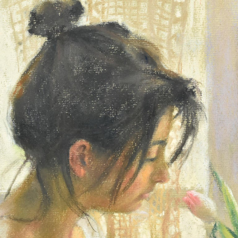 Wood Spanish Artist Vicente Romero Redondo Pastel Painting Young Girl with Flowers For Sale
