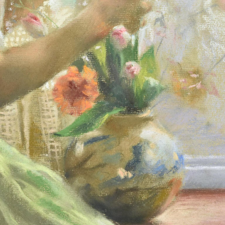 Spanish Artist Vicente Romero Redondo Pastel Painting Young Girl with Flowers For Sale 1