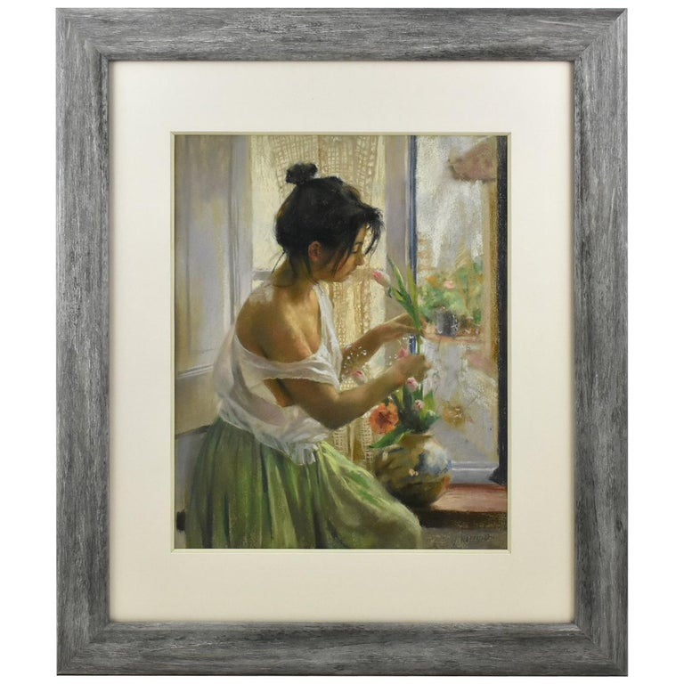Spanish Artist Vicente Romero Redondo Pastel Painting Young Girl with Flowers For Sale