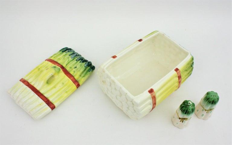 Spanish Asparagus Majolica Ceramic Serving Set, 1960s For Sale 4