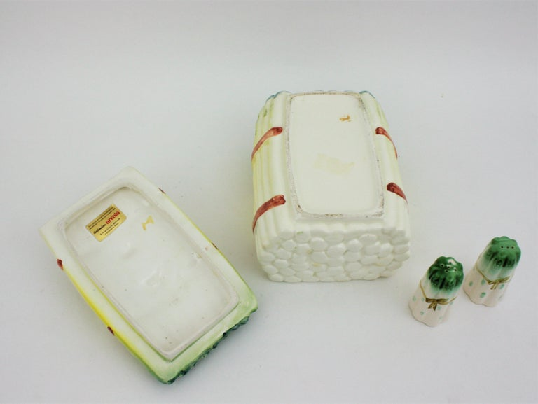 Spanish Asparagus Majolica Ceramic Serving Set, 1960s For Sale 8