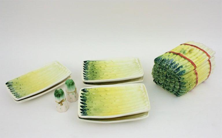 Glazed Spanish Asparagus Majolica Ceramic Serving Set, 1960s For Sale