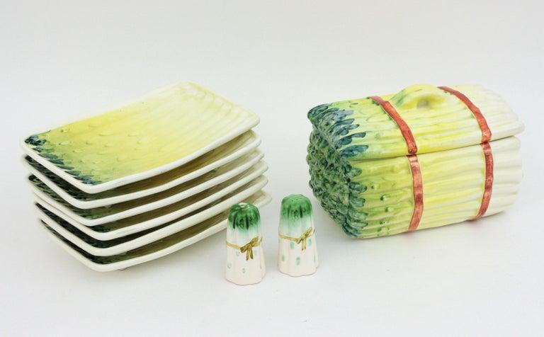 20th Century Spanish Asparagus Majolica Ceramic Serving Set, 1960s For Sale