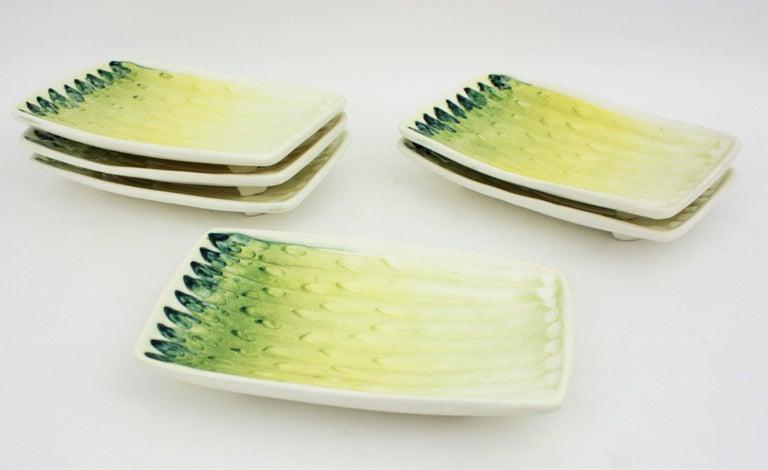 Spanish Asparagus Majolica Ceramic Serving Set, 1960s For Sale 2