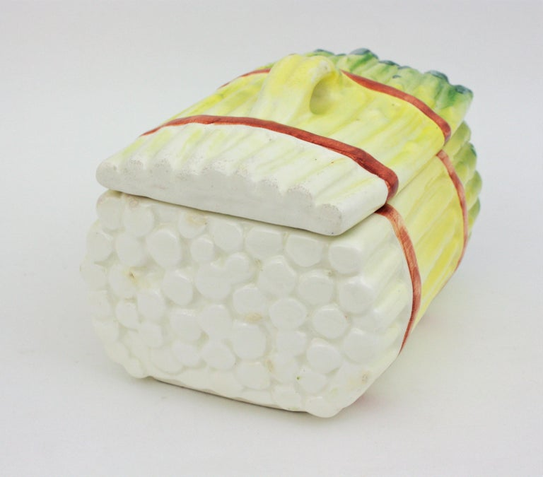 Spanish Asparagus Majolica Ceramic Serving Set, 1960s For Sale 3