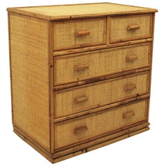 Spanish Bamboo and Rattan Chest of Drawers, 1970s