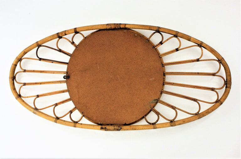 Bamboo and Rattan Large Oval Mirror, Spain, 1960s For Sale 5