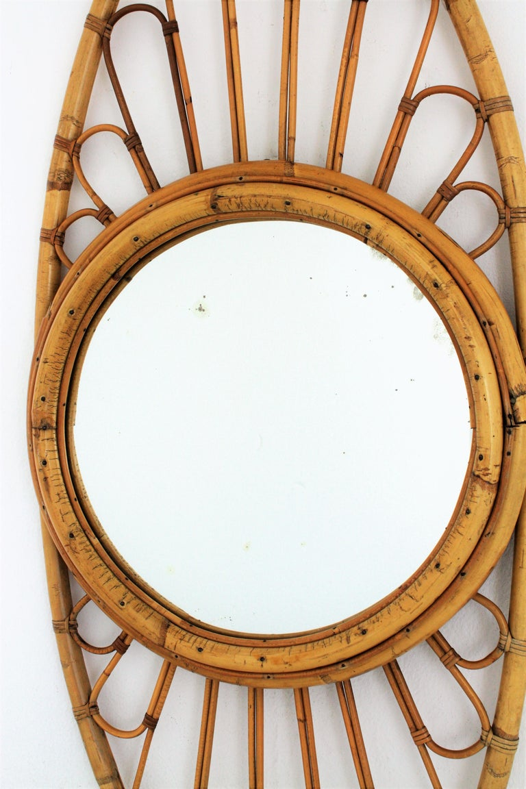 Mid-Century Modern Bamboo and Rattan Large Oval Mirror, Spain, 1960s For Sale