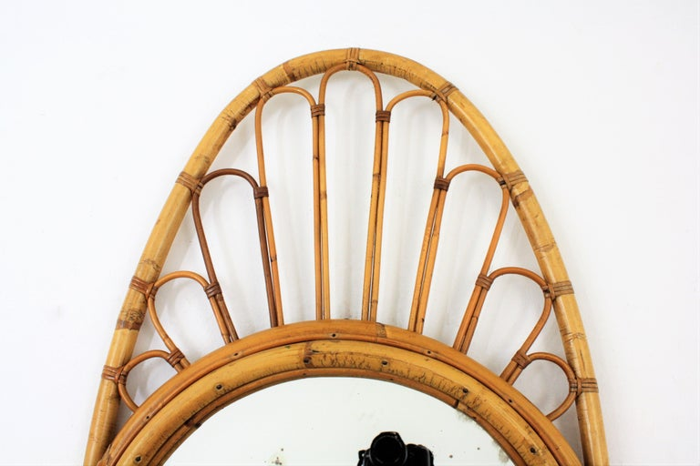 Spanish Bamboo and Rattan Large Oval Mirror, Spain, 1960s For Sale