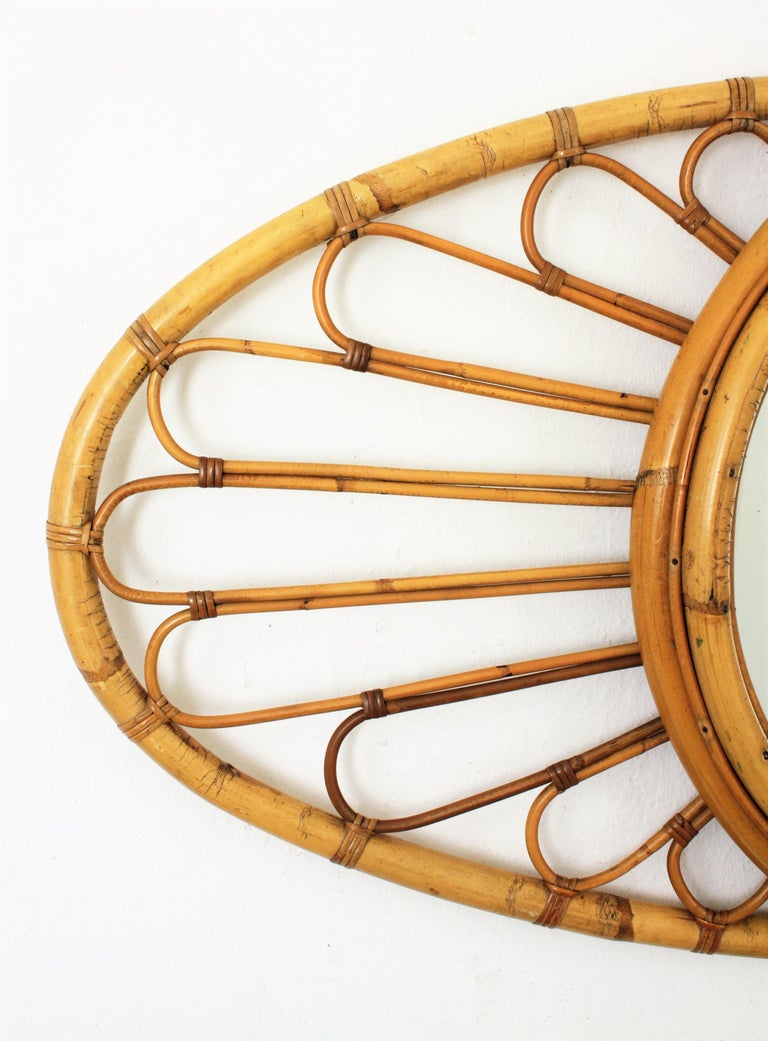 Bamboo and Rattan Large Oval Mirror, Spain, 1960s In Good Condition For Sale In Barcelona, ES
