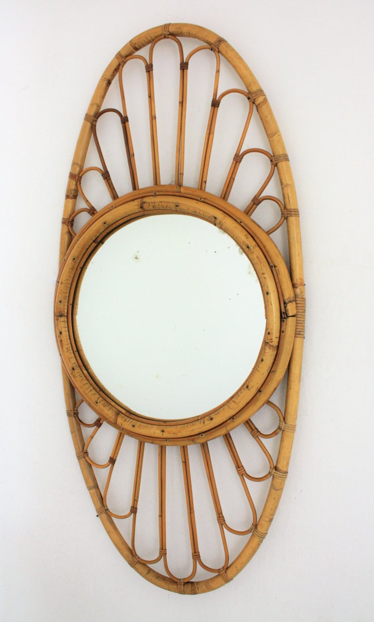 Bamboo and Rattan Large Oval Mirror, Spain, 1960s For Sale 1
