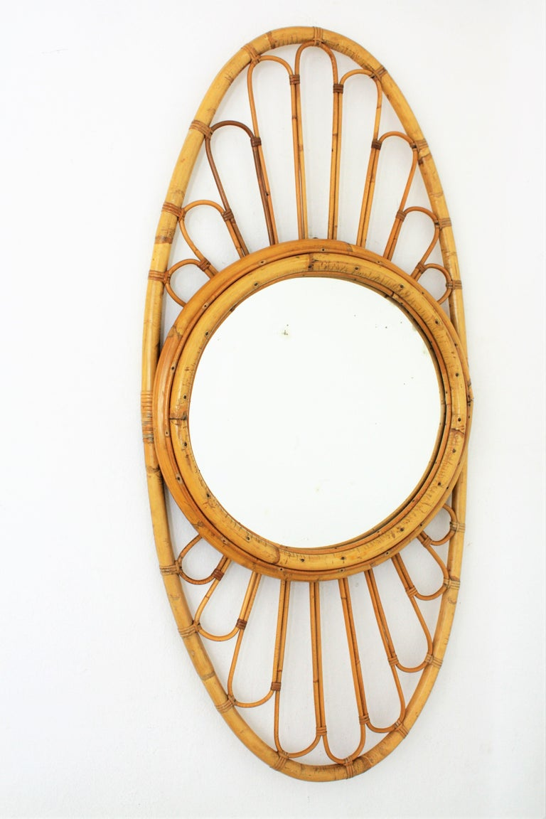 Bamboo and Rattan Large Oval Mirror, Spain, 1960s For Sale 2