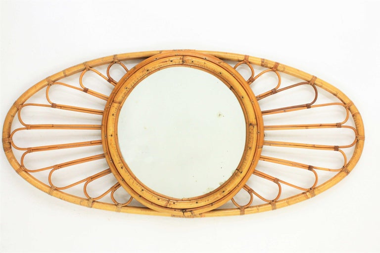 Bamboo and Rattan Large Oval Mirror, Spain, 1960s For Sale 3