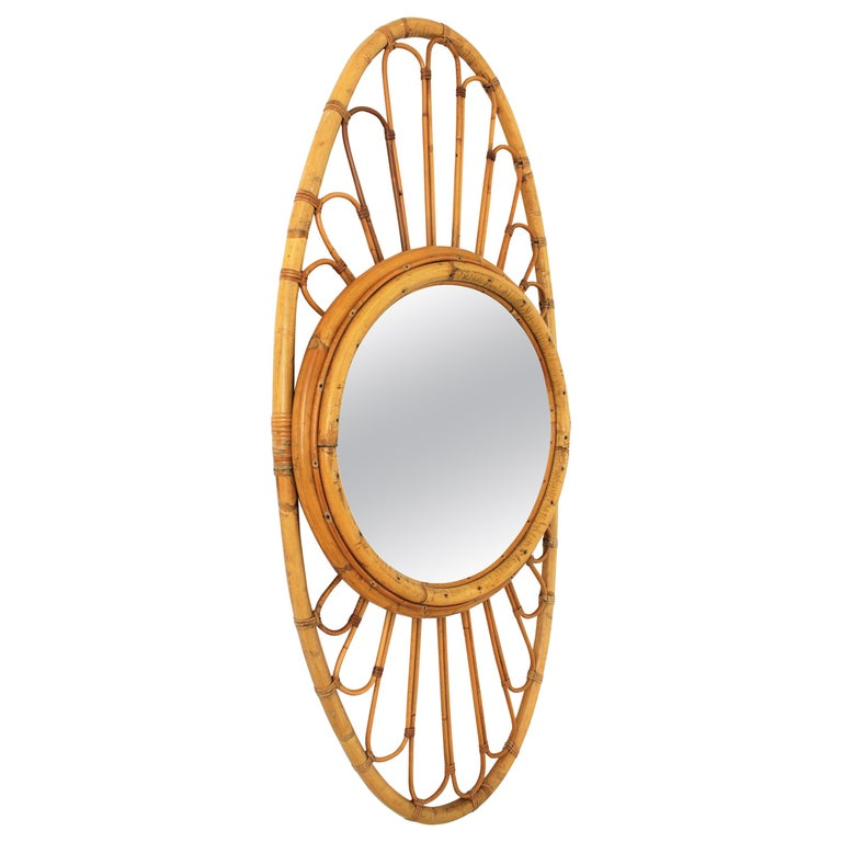 Bamboo and Rattan Large Oval Mirror, Spain, 1960s For Sale