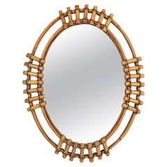 Spanish Bamboo Oval Sunburst Mirror, 1960s