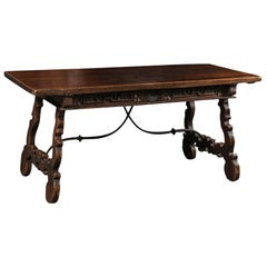 Spanish Baroque 1750s Walnut Fratino Table with Drawers and Iron Stretchers