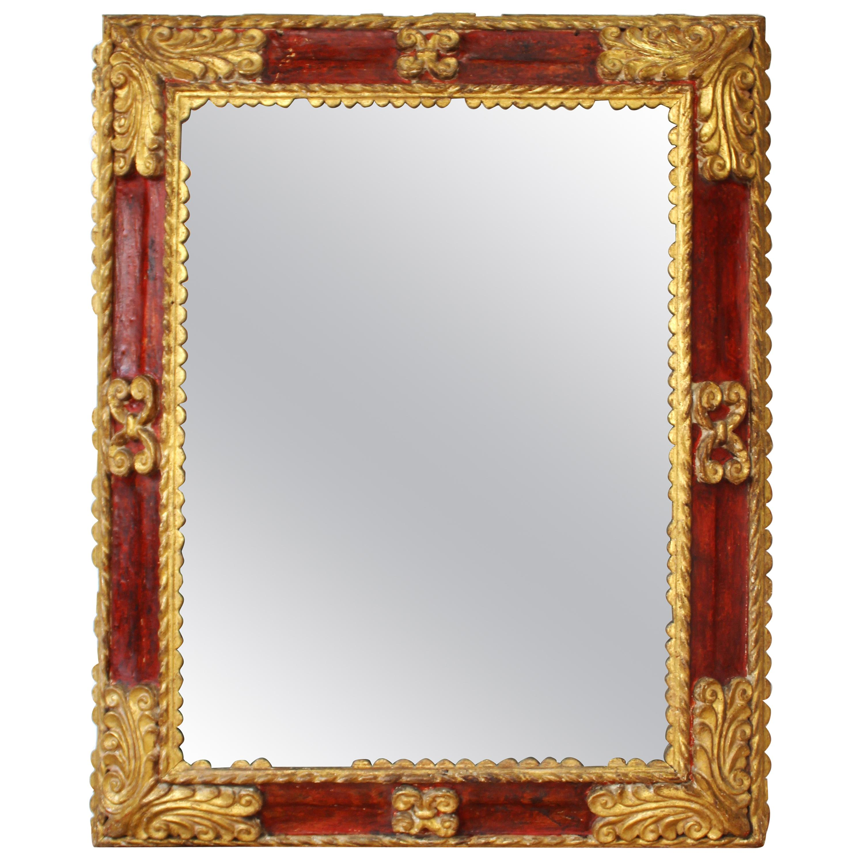 Spanish Baroque Carved and Giltwood Frame Mirror