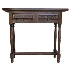 Spanish Baroque Carved Walnut Console Table with Two Drawers, circa 1890