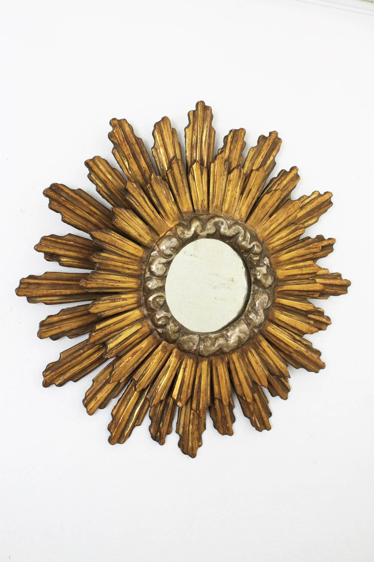 Carved Spanish Baroque Double Layered Silver and Gold Giltwood Sunburst Mirror, 1930s For Sale