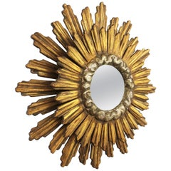 Spanish Baroque Double Layered Silver and Gold Giltwood Sunburst Mirror, 1930s