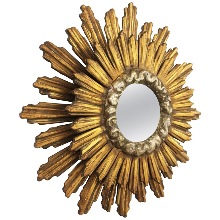 Spanish Baroque Double Layered Silver and Gold Giltwood Sunburst Mirror, 1930s For Sale