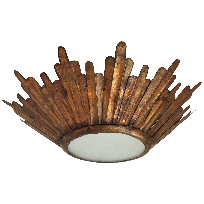 Gilt Metal Sunburst Crown Ceiling Light Fixture, Spanish Baroque Style