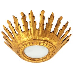 Spanish Baroque Giltwood Crown Sunburst Ceiling Light Fixture with Frosted Glass