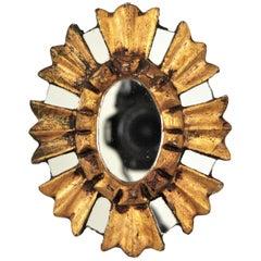 Spanish Baroque Giltwood Mini Sunburst Oval Mirror