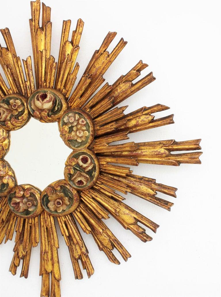 Spanish Baroque Giltwood Sunburst Starburst Mirror with Flower Details For Sale 4