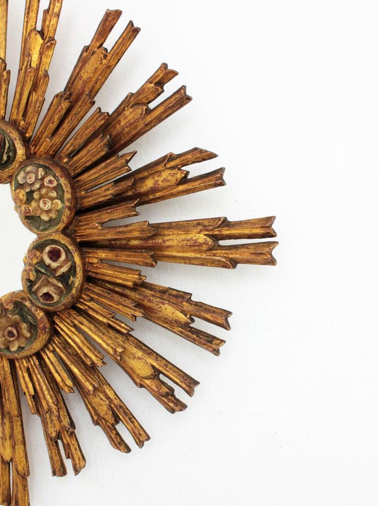 Spanish Baroque Giltwood Sunburst Starburst Mirror with Flower Details For Sale 5
