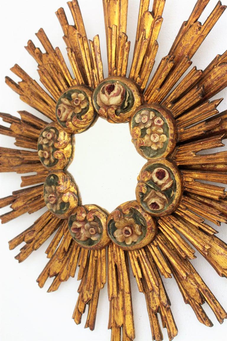 20th Century Spanish Baroque Giltwood Sunburst Starburst Mirror with Flower Details For Sale