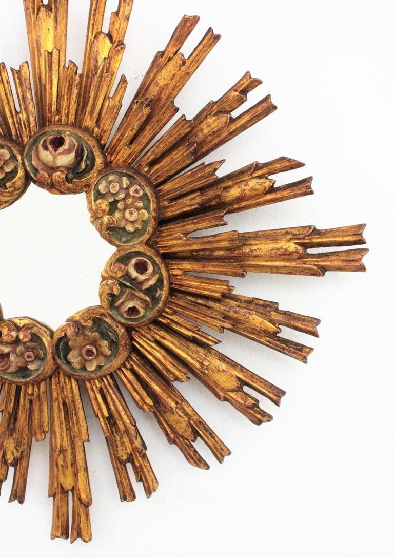 Spanish Baroque Giltwood Sunburst Starburst Mirror with Flower Details For Sale 2