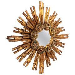 Spanish Baroque Giltwood Sunburst Starburst Mirror with Flower Details