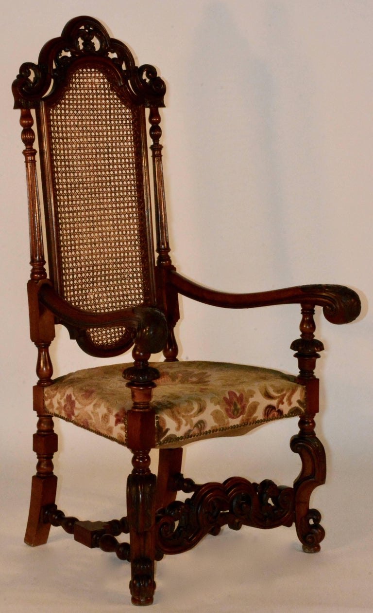 Woodwork Spanish Baroque High Back Chairs, Pair For Sale
