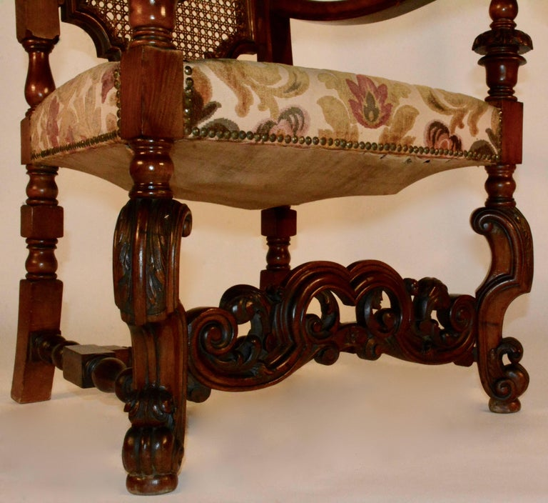 Spanish Baroque High Back Chairs, Pair In Fair Condition For Sale In Cookeville, TN