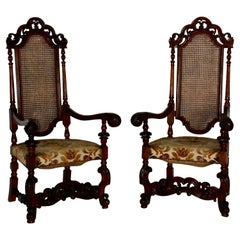 Spanish Baroque High Back Chairs, Pair