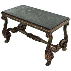 Spanish Baroque Revival Carved Wood and Marble Table