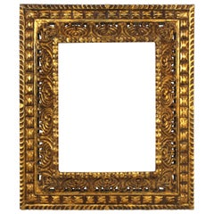 Spanish Baroque Revival Giltwood Carved Frame