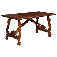 Spanish Baroque Style 19th Century Walnut Fratino Table with Carved Lyre Legs