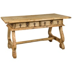 Spanish Baroque Style Bleached Walnut Trestle Base Farm Table, circa 1820