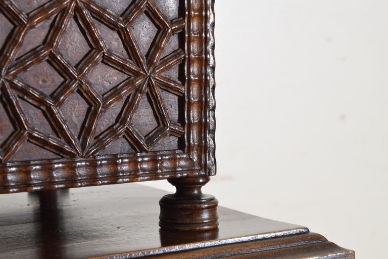 Spanish Baroque Style Carved Walnut Iron Mounted Box on Stand, 20th Century For Sale 7